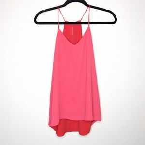 Express Tops - Express Reversible Red & Pink Keyhole Cami Blouse